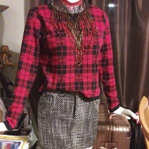 Classic Tweed Houndstooth Mini Skirt
